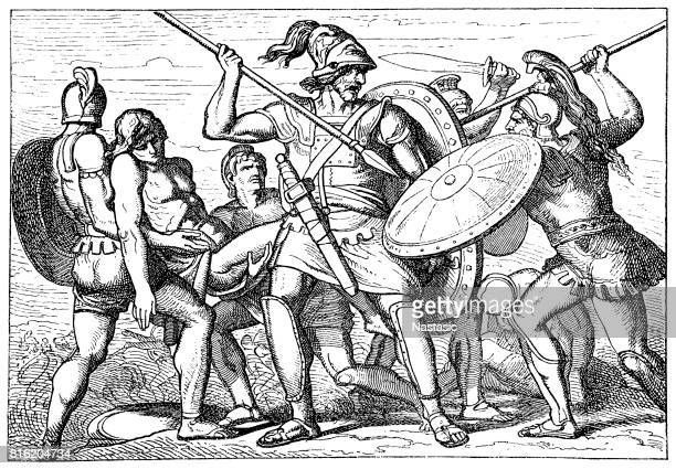 fight for the corpse of patroclus, greek mythology - trojan war stock illustrations, clip art, cartoons, & icons