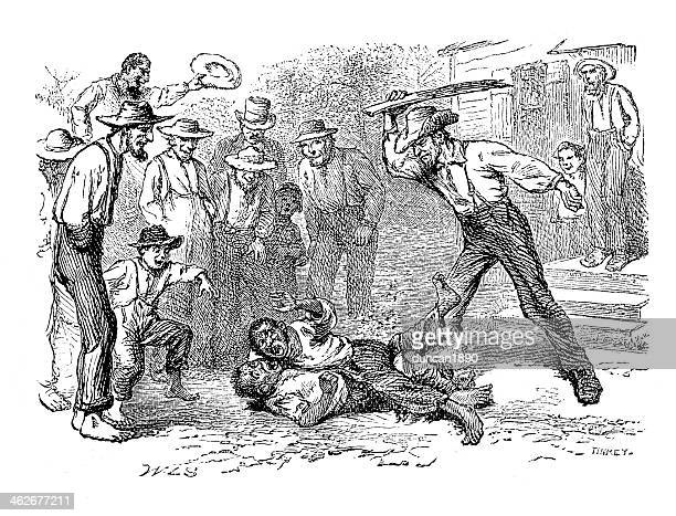 fight interrupted - slavery stock illustrations