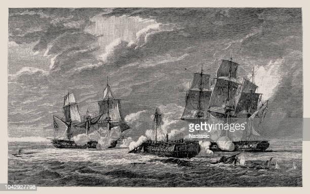 ilustraciones, imágenes clip art, dibujos animados e iconos de stock de lucha de un francés con dos fragatas inglés - cultura española
