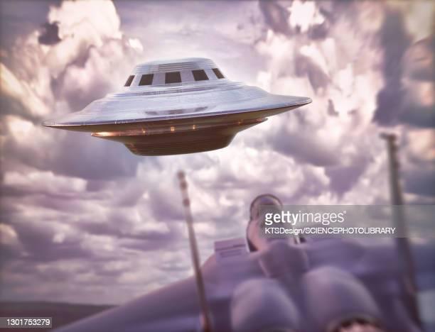 fighter jet intercepting ufo, illustration - military stock illustrations