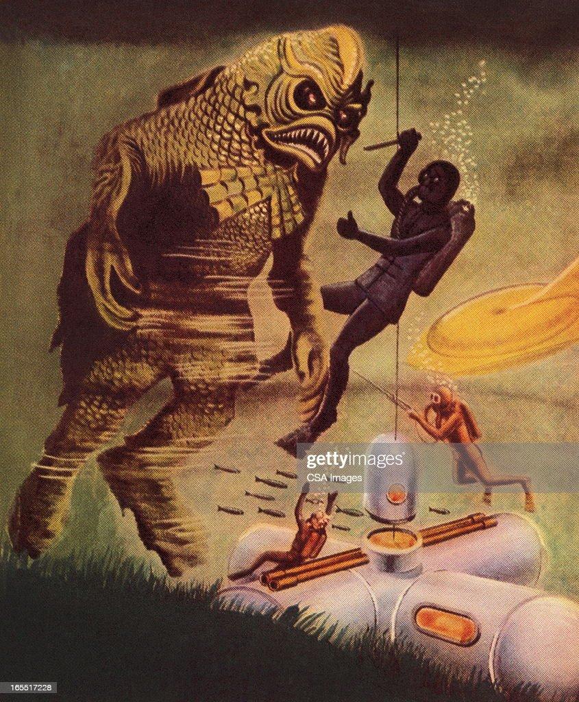 Fighting a Sea Monster : Stock Illustration