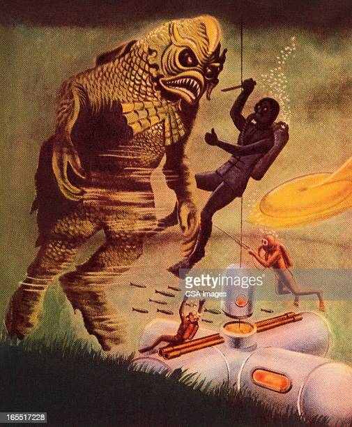 fighting a sea monster - scuba diving stock illustrations