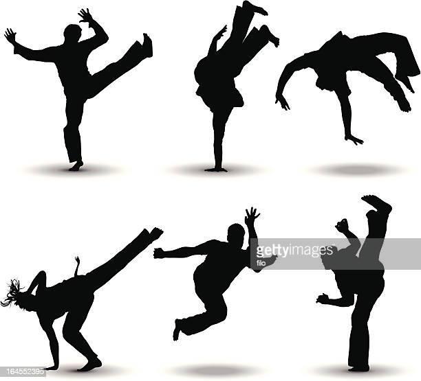 ilustrações de stock, clip art, desenhos animados e ícones de técnica de combate - capoeira