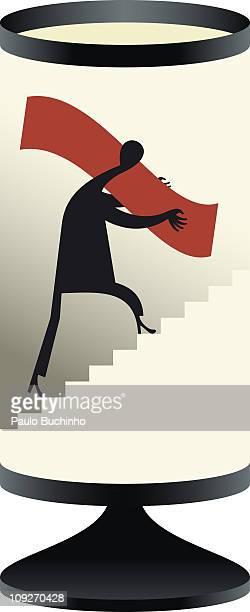 ilustrações de stock, clip art, desenhos animados e ícones de a figure carrying an object up stairs - buchinho