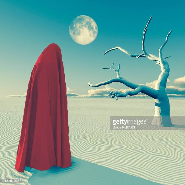 figure in red hijab stands at the desert. - hood clothing stock illustrations