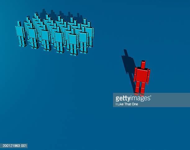 Figure made of red blocks standing apart from crowd of blue figures