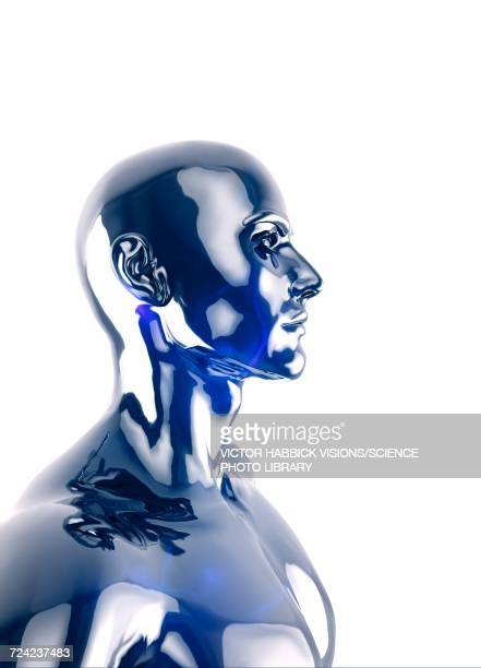 figure of person against white background - cyborg stock illustrations, clip art, cartoons, & icons