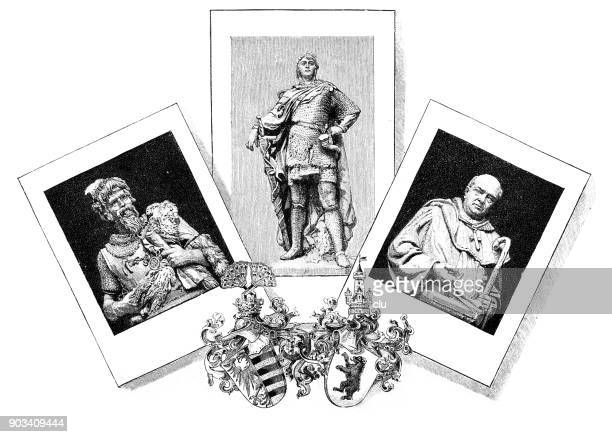 Figures of the Margrave Otto I group for the Siegesallee in Berlin