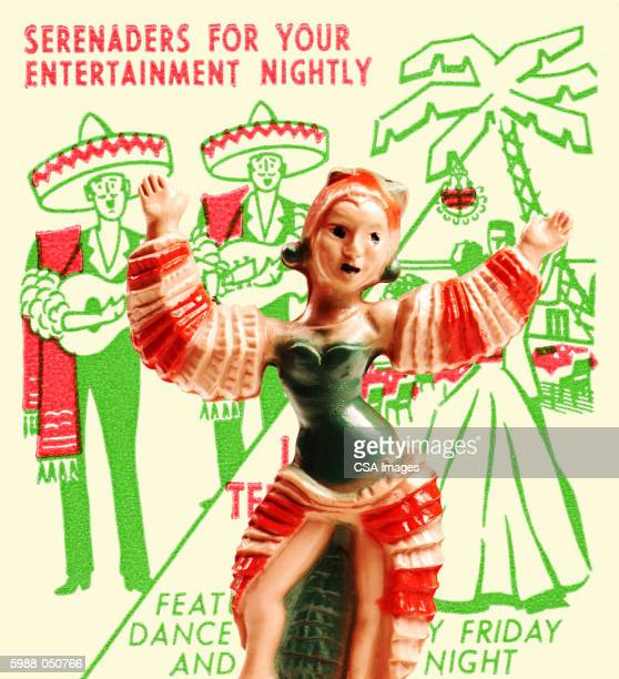 figurine of a dancer - sombrero stock illustrations
