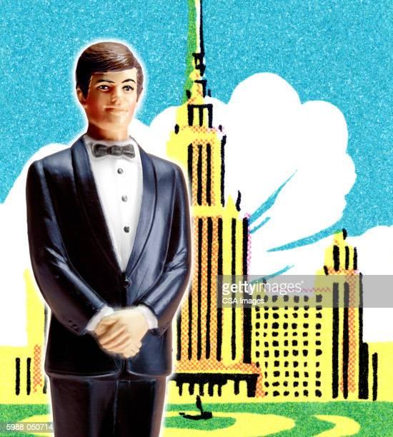 figurine of man in tuxedo - figurine stock illustrations, clip art, cartoons, & icons