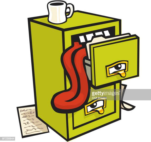 file cabinet - storage room stock illustrations, clip art, cartoons, & icons