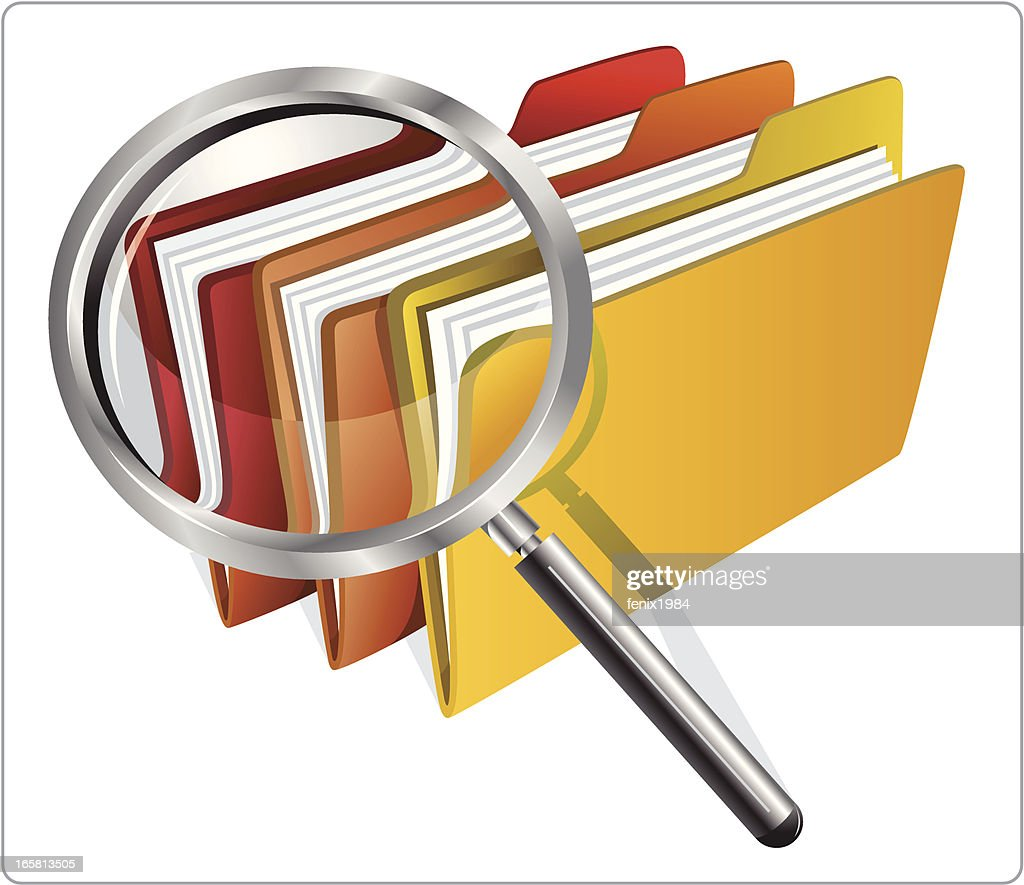 file with magnifying glass : stock illustration