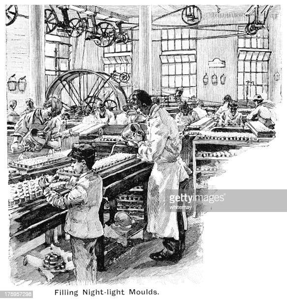 filling night-light moulds in a victorian candle factory - child labor stock illustrations