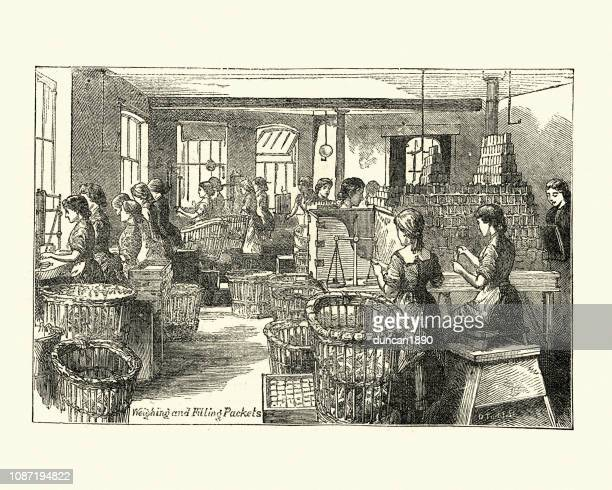 filling packets of cocoa  fry's chocolate factory, bristol, 19th century - industrial revolution stock illustrations