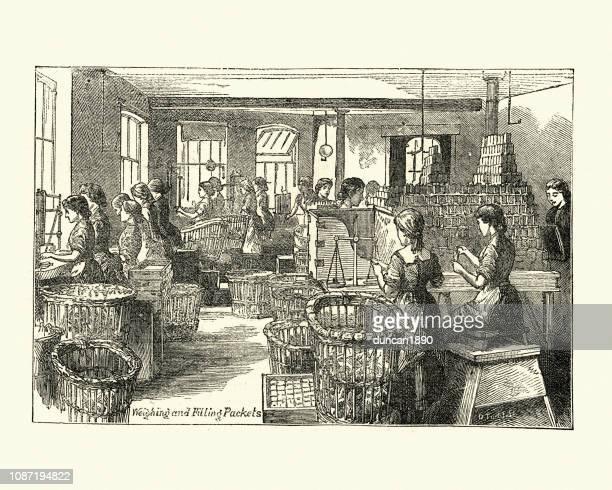 ilustraciones, imágenes clip art, dibujos animados e iconos de stock de relleno de paquetes de cacao chocolatería fry, bristol, siglo xix - revolucion industrial