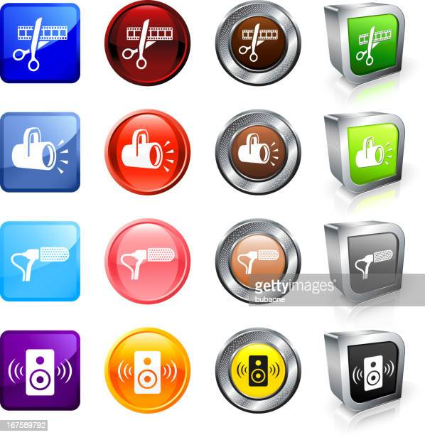 film equipment royalty free vector button set - film studio stock illustrations, clip art, cartoons, & icons
