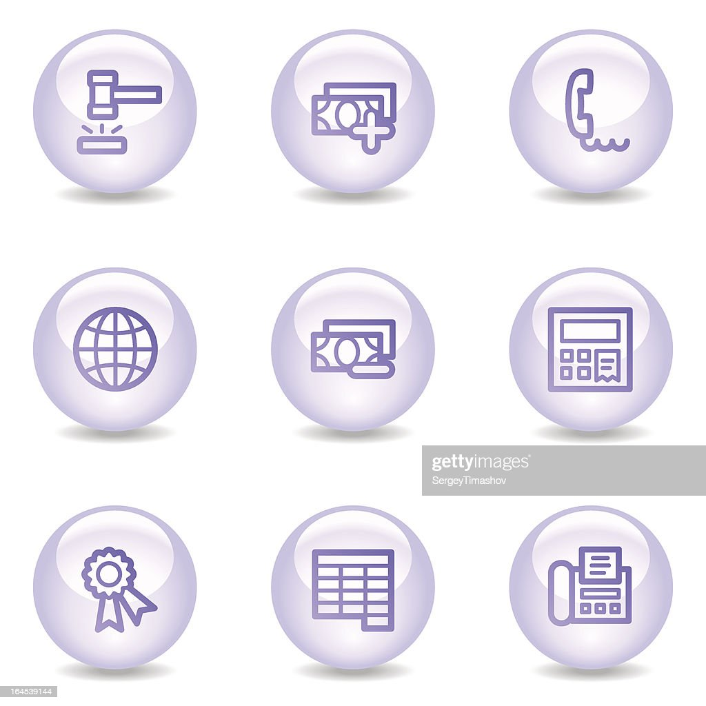 Finance web icons, glossy pearl series set 2