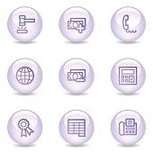 Finance web icons, glossy pearl series set 2