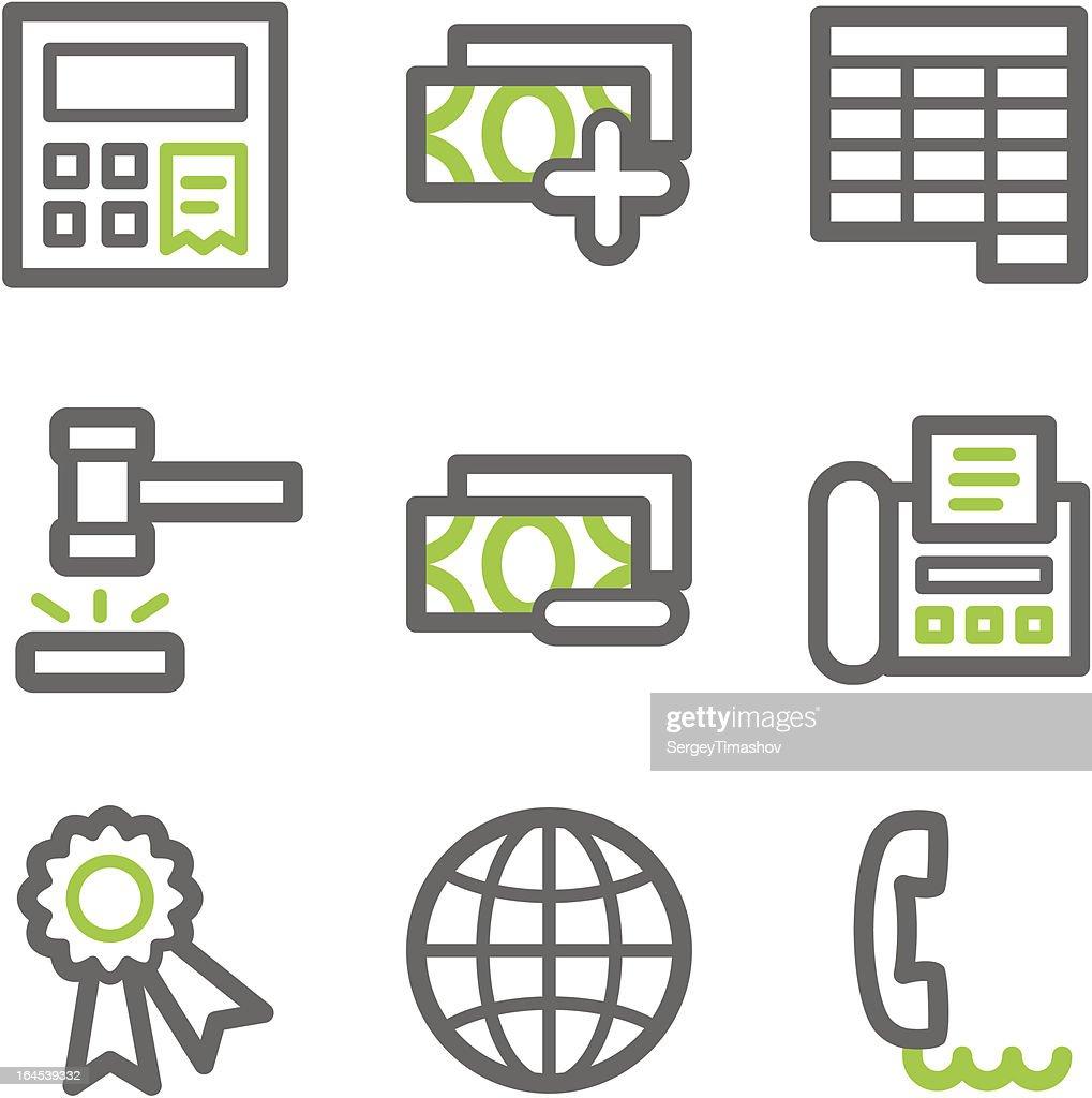 Finance web icons, green  gray contour set 2