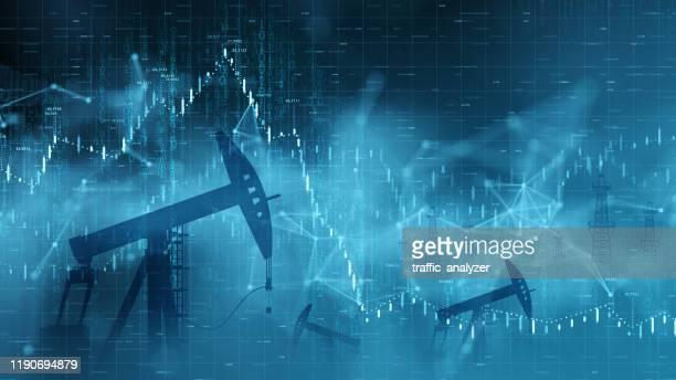 ilustraciones, imágenes clip art, dibujos animados e iconos de stock de antecedentes financieros - precios del petróleo - torre petrolera