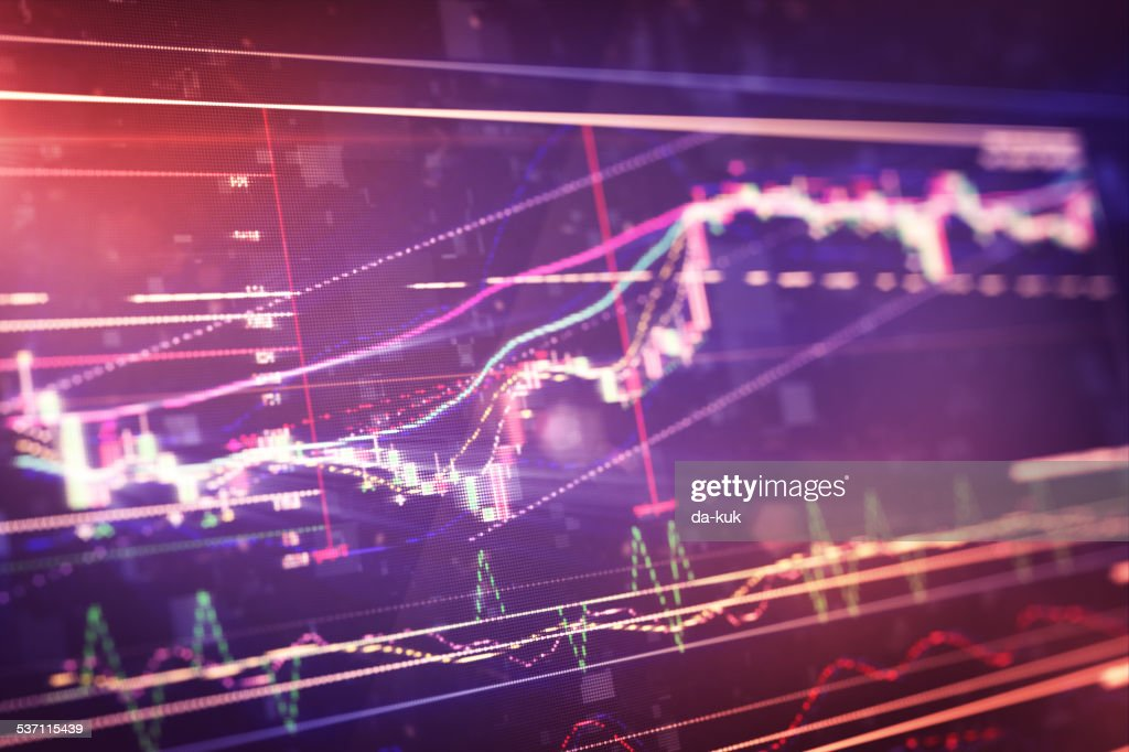 Financial chart on LCD display : stock illustration