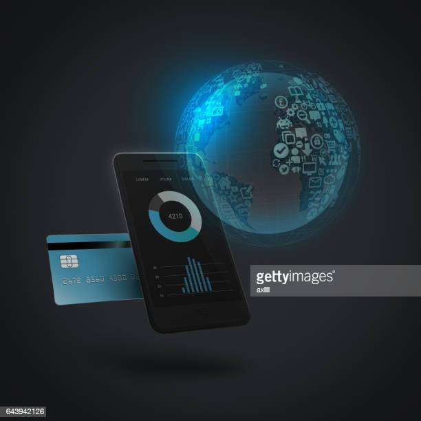 financial tech phone credit card - financial technology stock illustrations