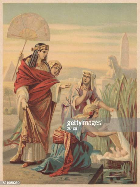 finding of moses (exodus 2), chromolithograph, published in 1886 - chromolithograph stock illustrations