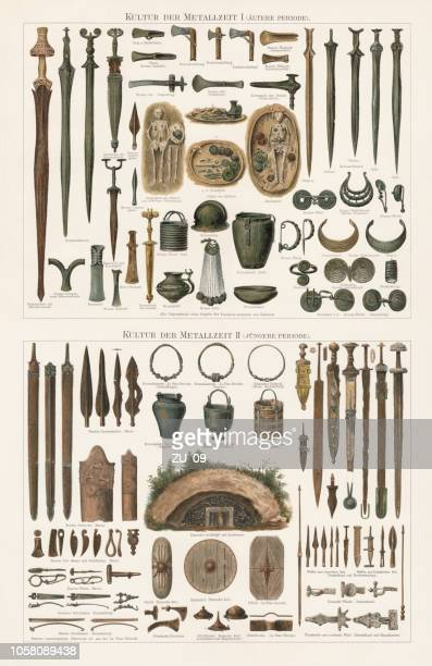 finds of the metal ages in europe, lithograph, published 1897 - archaeology stock illustrations