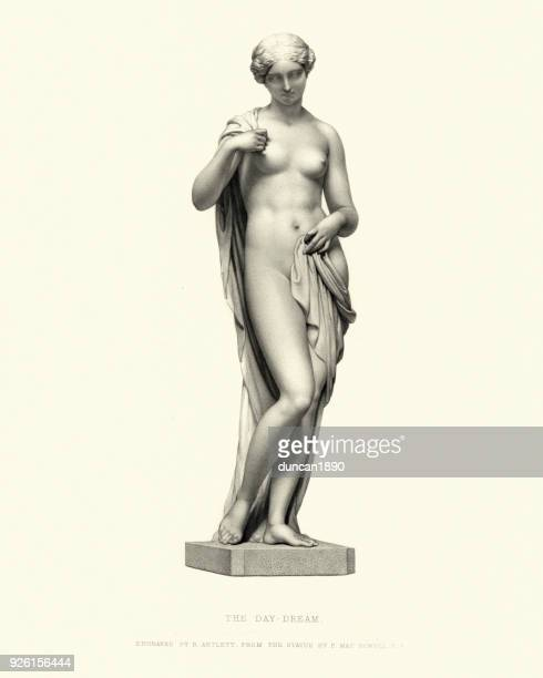 illustrazioni stock, clip art, cartoni animati e icone di tendenza di fine art statue, the day dream - donna nuda