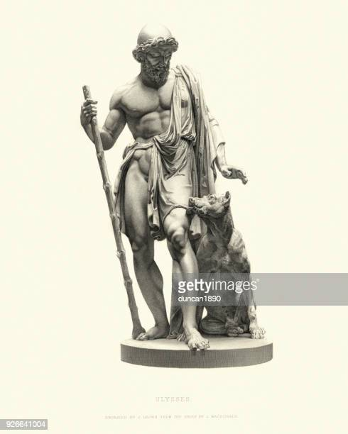fine art statue, ulysses (odysseus), after l macdonald, 1855 - classical greek style stock illustrations