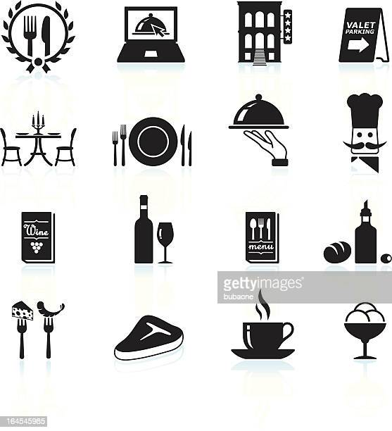 Fine restaurant dining and dinner reservations black & white icons