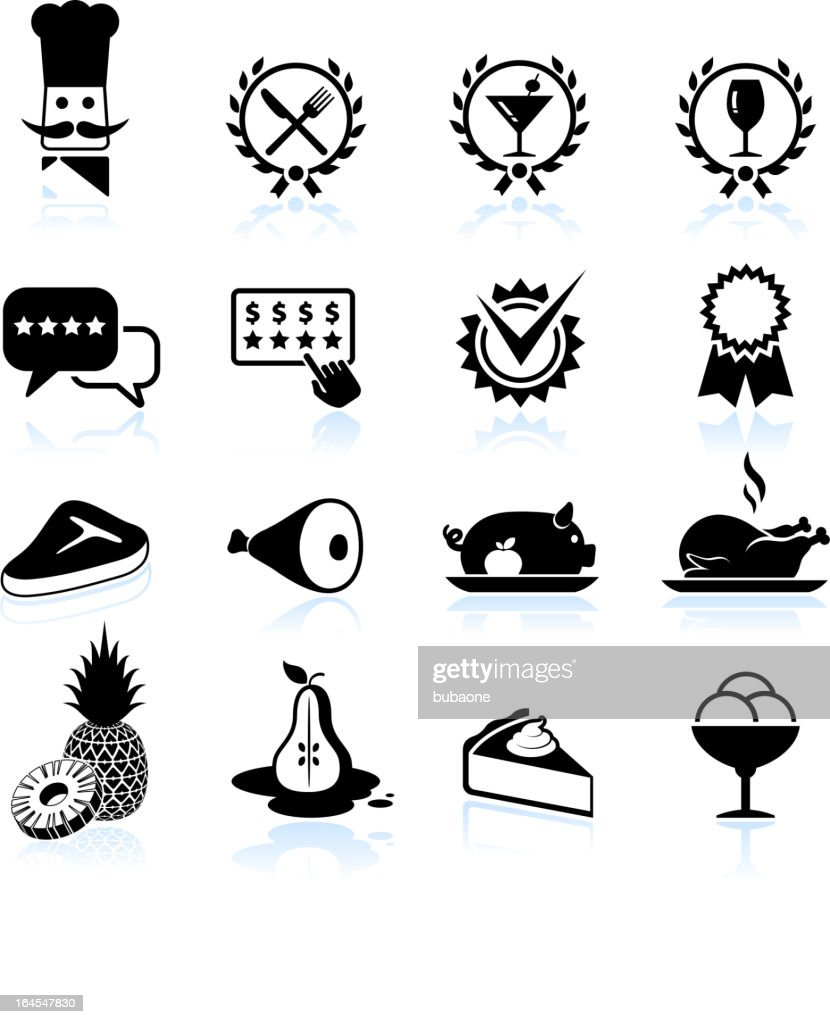 Fine restaurant dining food ratings black & white icon set : stock illustration