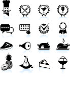Fine restaurant dining food ratings black & white icon set