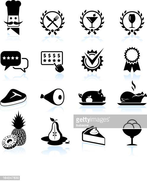 fine restaurant dining food ratings black & white icon set - chicken pie stock illustrations, clip art, cartoons, & icons
