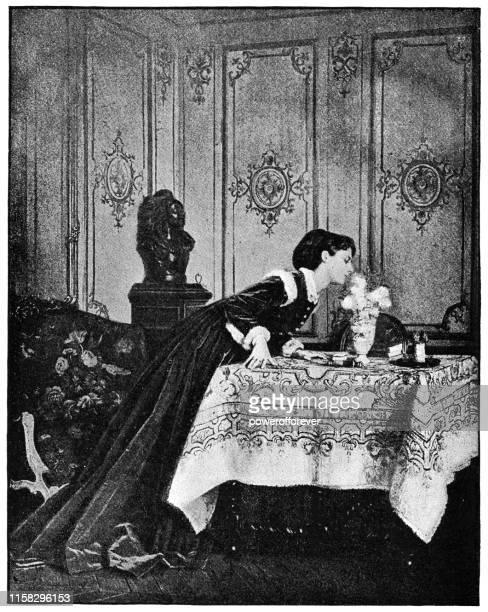ilustrações, clipart, desenhos animados e ícones de um perfume fino por auguste toulmouche-19o século - fine art portrait