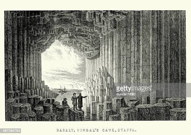fingal's cave, 19th century - isle of staffa stock illustrations, clip art, cartoons, & icons