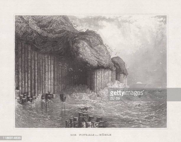 fingal's cave, staffa, scottland, steel engraving, published in 1857 - isle of staffa stock illustrations, clip art, cartoons, & icons