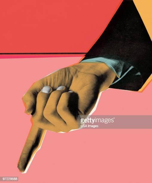 finger pointed down - pop art stock illustrations