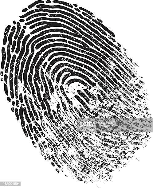 ilustraciones, imágenes clip art, dibujos animados e iconos de stock de dedo imprimir deteriorado - huella dactilar