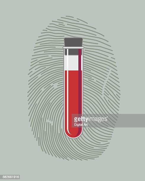 fingerprint and blood sample in test tube - natural pattern stock illustrations