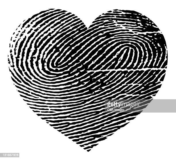 ilustraciones, imágenes clip art, dibujos animados e iconos de stock de fingerprint heart - huella dactilar
