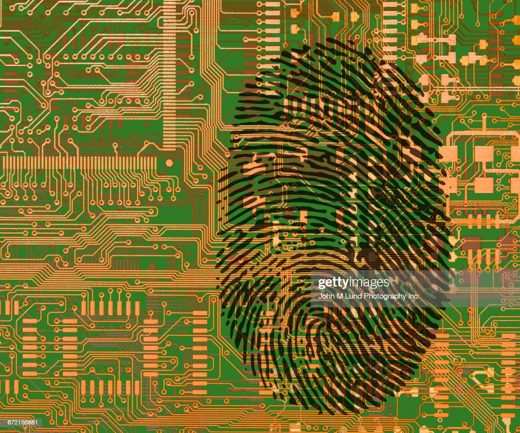 Fingerprint On Circuit Board Stock Illustration Getty Images