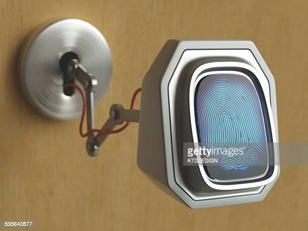 Fingerprint scanner and keyhole