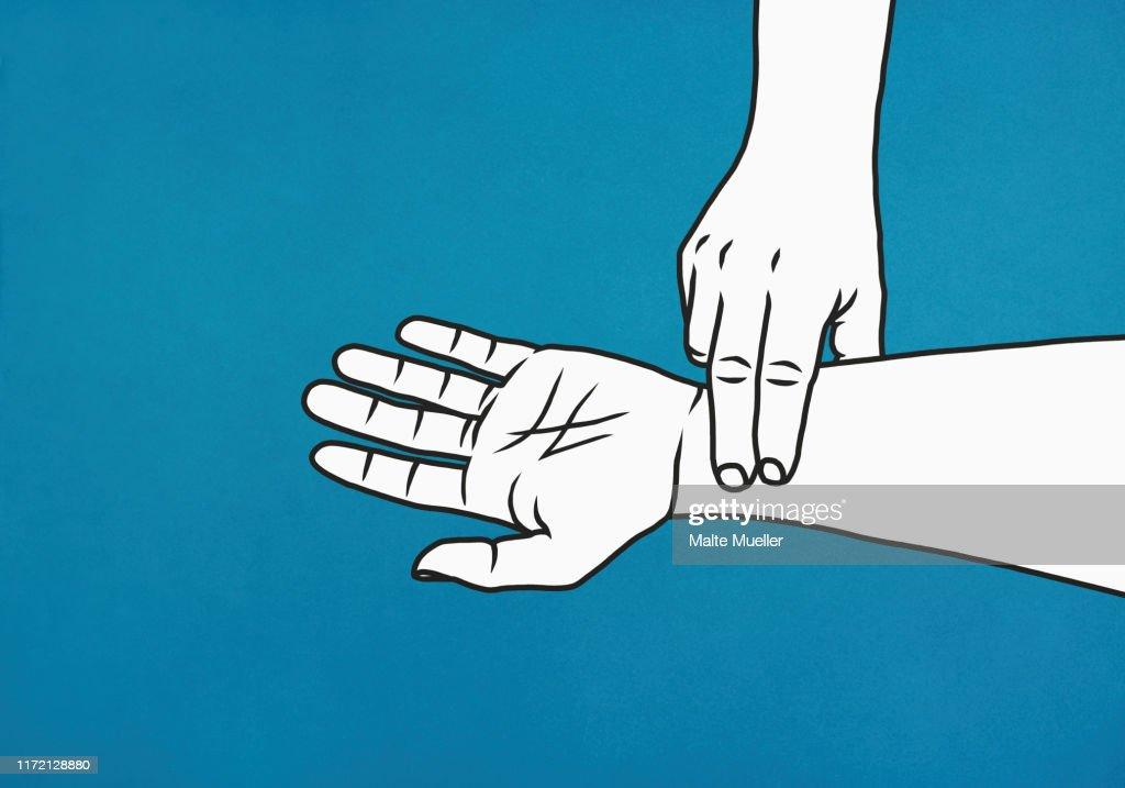 Fingers checking pulse on wrist : stock illustration
