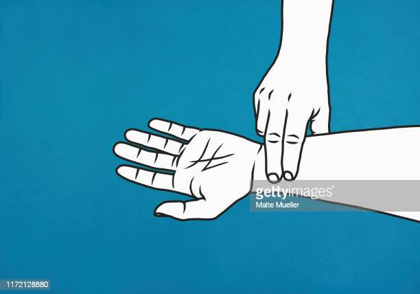 fingers checking pulse on wrist - touching stock illustrations