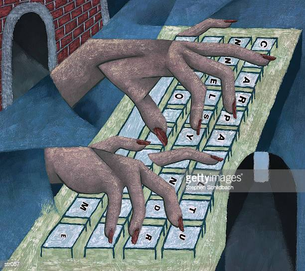 fingers on keyboard - stehen stock illustrations
