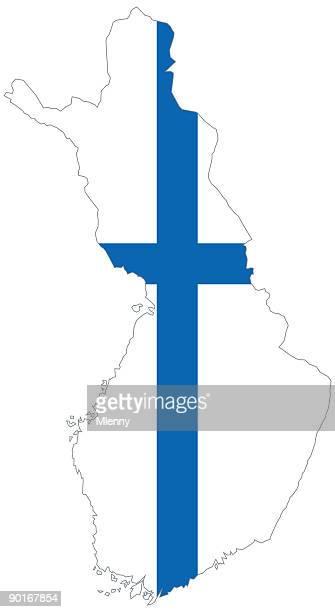 finland scandinavia map with finnish flag - helsinki stock illustrations, clip art, cartoons, & icons