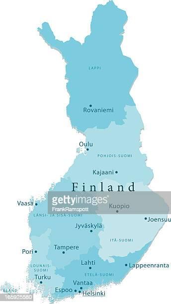 finland vector map regions isolated - helsinki stock illustrations, clip art, cartoons, & icons