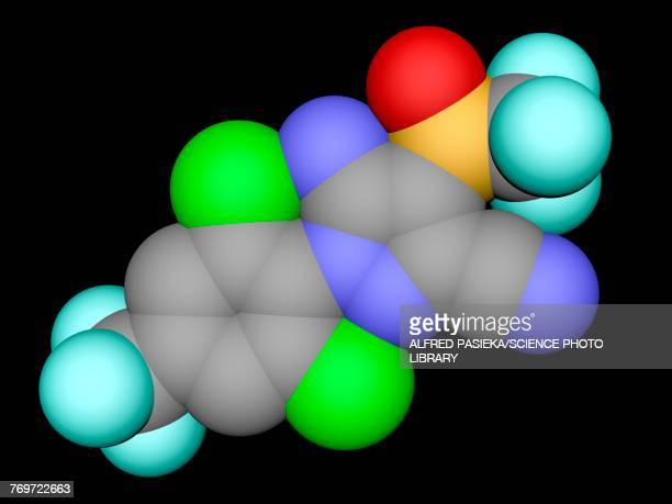 fipronil insecticide molecule, illustration - chlorine stock illustrations
