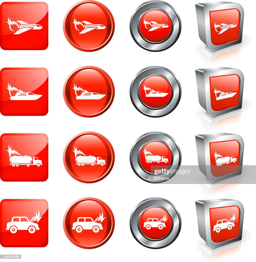 Fire Accident And Tragedy Royalty Free Vector Button Set Vector Art ...